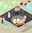 miniature people cooking breakfast on the kitchen vector image