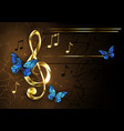 musical key with blue butterflies vector image vector image