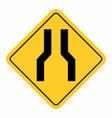 narrow road sign vector image vector image