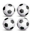 realistic football ball set classic round vector image