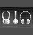 realistic white headphones vector image