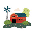 red wooden barn and windmill power station vector image vector image