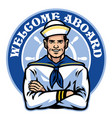 sailor badge design vector image vector image