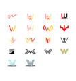 set initial letter w logo template design vector image vector image