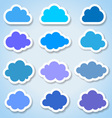 Set of 16 paper colorful clouds vector image