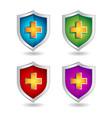 shield badge icons set 3d badge icons vector image