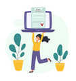 smart contract concept with a young woman carrying vector image vector image