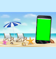 smartphone green screen on sea sand beach vector image vector image