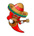 sombrero hot chili mascot vector image