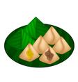 Stuffed Dough Pyramid Dessert vector image vector image