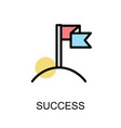 success icon with flag on white background vector image vector image