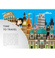 Time to travel template with famous attractions vector image vector image