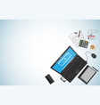 top view business desk workplace concept vector image