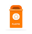 urban trash bin for plastic waste flat isolated vector image vector image