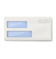 White blank DL envelope with two windows vector image vector image