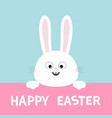 white bunny rabbit head face hanging on pink vector image vector image