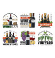 wine bottles glasses grapes bread and cheese vector image vector image