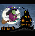 witch on broom theme image 3 vector image vector image