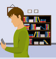 young student reading on smartphone vector image vector image