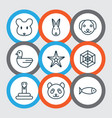 zoo icons set with dog seafood mouse and other vector image