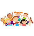 group of children kids are jumping joyful white vector image