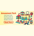 amusement park concept banner cartoon style vector image vector image