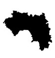 black silhouette country borders map of guinea on vector image vector image