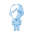 blurred thin silhouette of anime little boy vector image