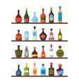 bottles on shelves alcoholic drinks vodka liquor vector image