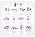 Calendar 2014 with 12 funny pink cats vector image vector image