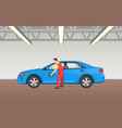 car polishing in garage job vector image