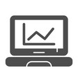 chart on laptop solid icon computer diagram vector image vector image