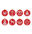 christmas decoration balls with knitted texture vector image