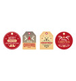 christmas tags festive labels holiday badges vector image vector image