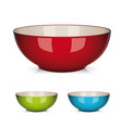 colorful porcelain bowl set isolated vector image