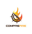 compass with fire logo design inspirations vector image