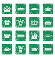 crown icons set grunge vector image vector image