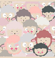 cute cartoon funny lamb head seamless pattern vector image