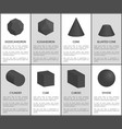 dodecahedron and icosahedron black prisms set vector image vector image