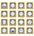 emoticon icons set blue vector image vector image