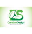 es green leaf letter design logo eco bio leaf vector image vector image