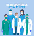 flat modern design be responsible stay at home vector image vector image