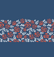floral border red roses on blue seamless vector image