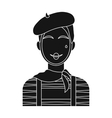 French mime icon in black style isolated on white vector image