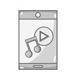 grayscale smartphone technology with music sound vector image
