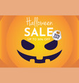 halloween sale with pumpkin banner and background vector image vector image