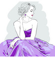 hand drawn woman in dress fashion model vector image vector image