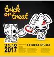 helloween evil cat bunny voodoo doll pop art vector image vector image
