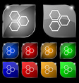 Honeycomb icon sign Set of ten colorful buttons vector image vector image