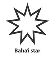 Icon of Bahai Nine pointed star symbol Bahaism vector image